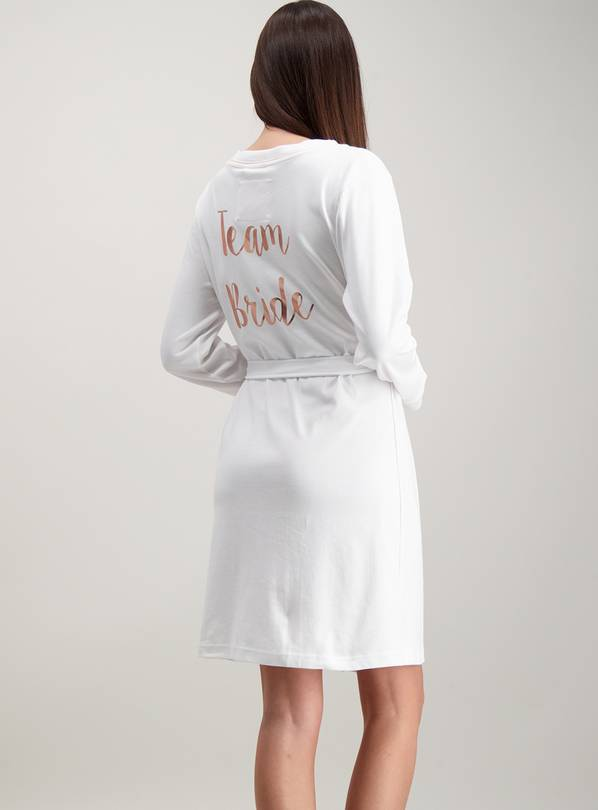 White Team Bride Dressing Gown - L