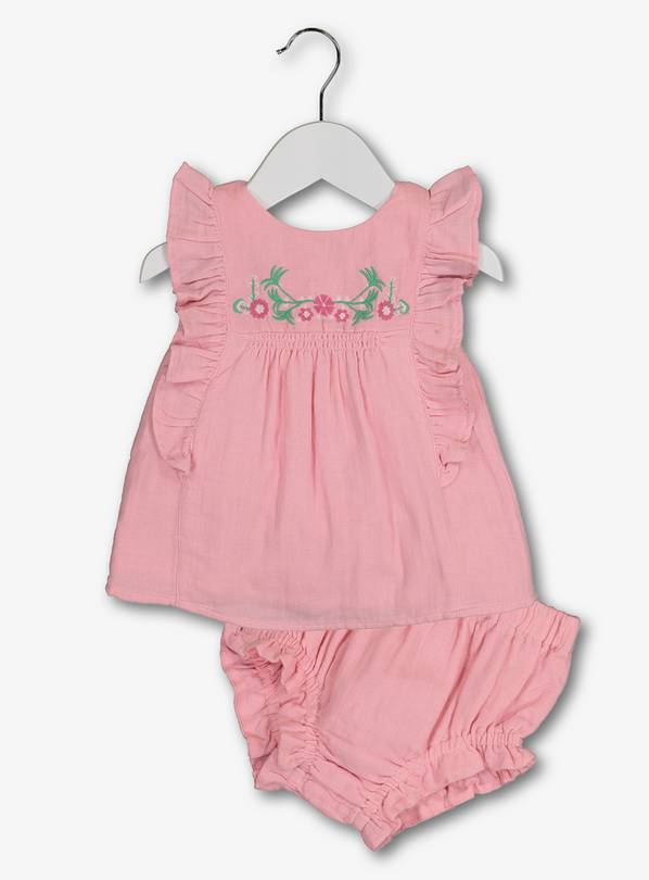 Pink Embroidered Top & Knicker 2 Piece Set - Newborn