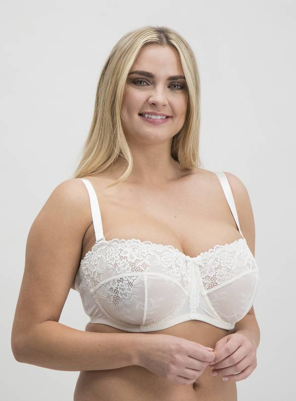 Online Exclusive DD+ Ivory Non-Padded Multiway Bra - 34GG