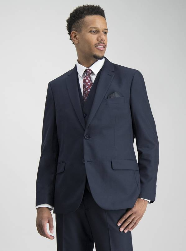 Navy Prince Of Wales Check Tailored Suit Jacket - 50L