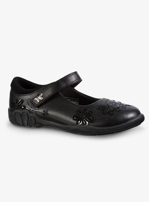 Black Embroidered Leather School Shoes - 7 Infant