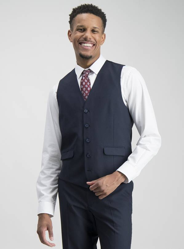 Navy Prince Of Wales Check Tailored Fit Waistcoat - 44S