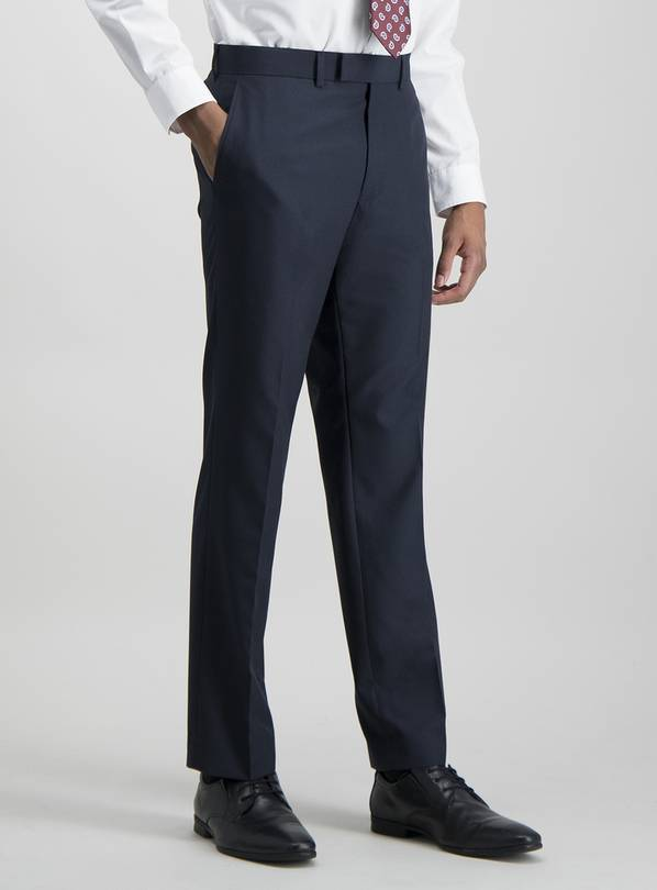Navy Tailored Fit Prince Of Wales Check Suit Trousers - W40