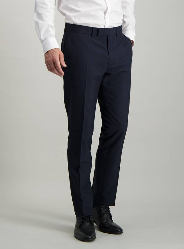 Navy Check Slim Fit Suit Trousers - W32 L29
