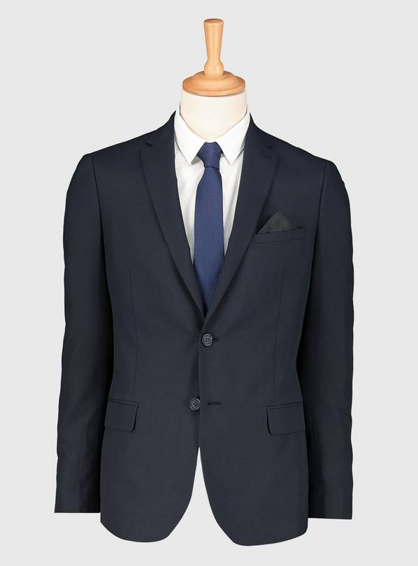 Navy Prince Of Wales Check Slim Fit Suit Jacket - 46L