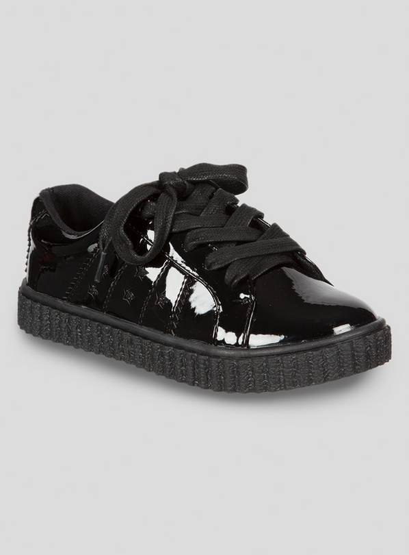 Black Patent School Shoe Creepers - 13 Infant