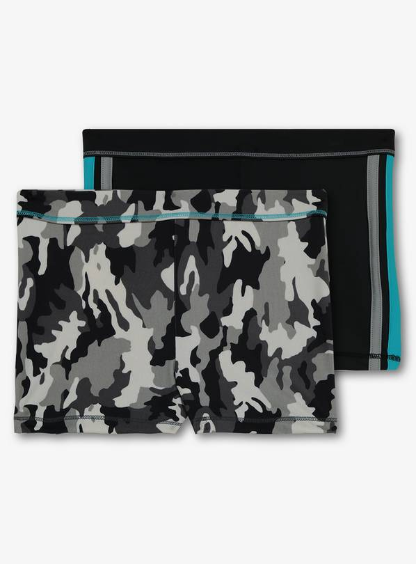 Black & Grey Camouflage Swim Shorts 2 Pack - 12 years