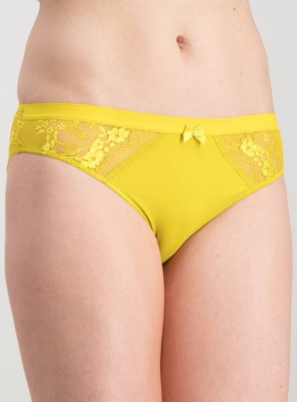 Bright Lime Green Shimmer Lace Brazilian Knickers - 20