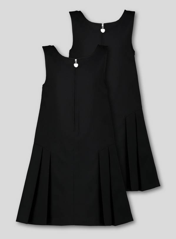 Black Zip Front Pleated Pinafore Dress 2 Pack - 9 years