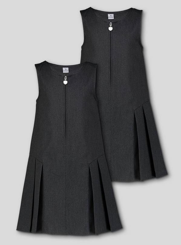 Grey Zip Front Pleated Pinafore Dress 2 Pack - 8 years
