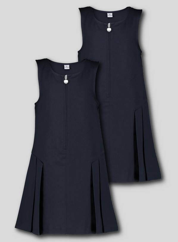 Navy Zip Front Pleated Pinafore Dress 2 Pack - 8 years