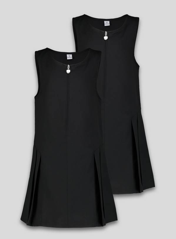 Black Zip Pleated Pinafore Plus Fit 2 Pack - 12 years