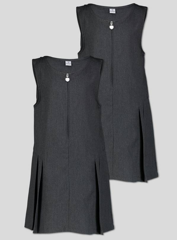Grey Zip Front Pleated Pinafore Dress Plus Fit 2 Pack - 7 ye