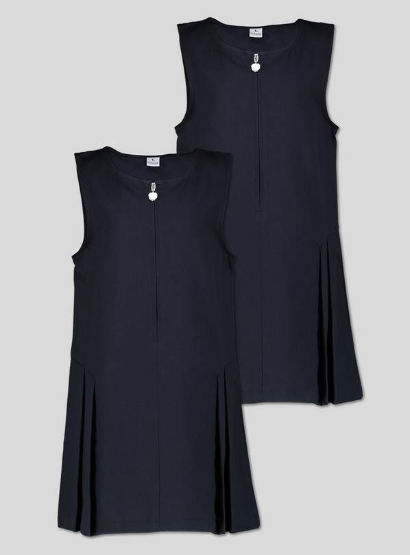 Navy Zip Front Pleated Pinafore Dress Plus Fit 2 Pack - 10 y