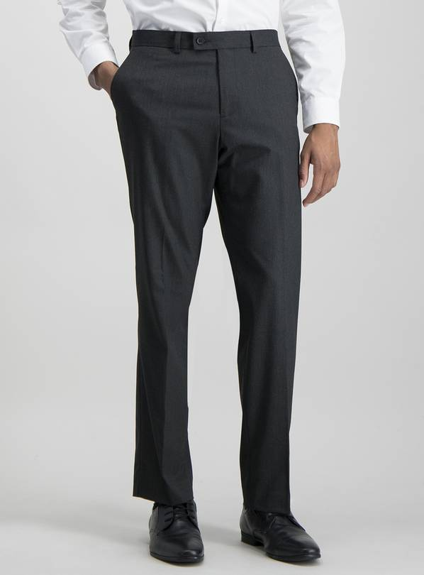 Black Pinstripe Tailored Trouser With Stretch - W38 L35