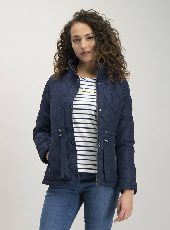 Navy Quilted Shower Resistant Padded Jacket - 14