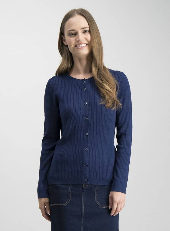 Navy Rib & Dot Button Through Cardigan - 18