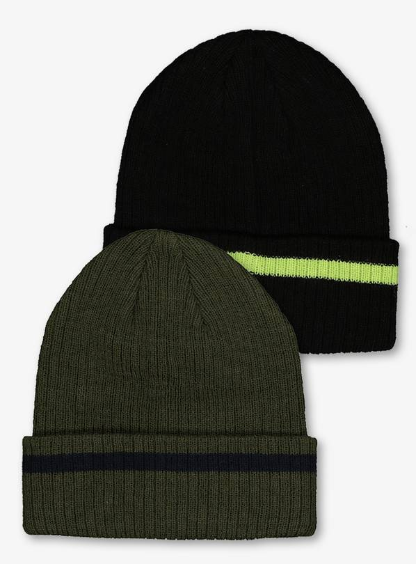 Black & Khaki Beanie Hat 2 Pack - 10-13 years