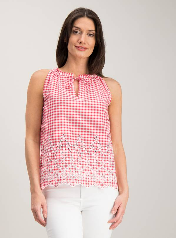 Red Gingham Schiffli Lace Detail Shell Top - 26