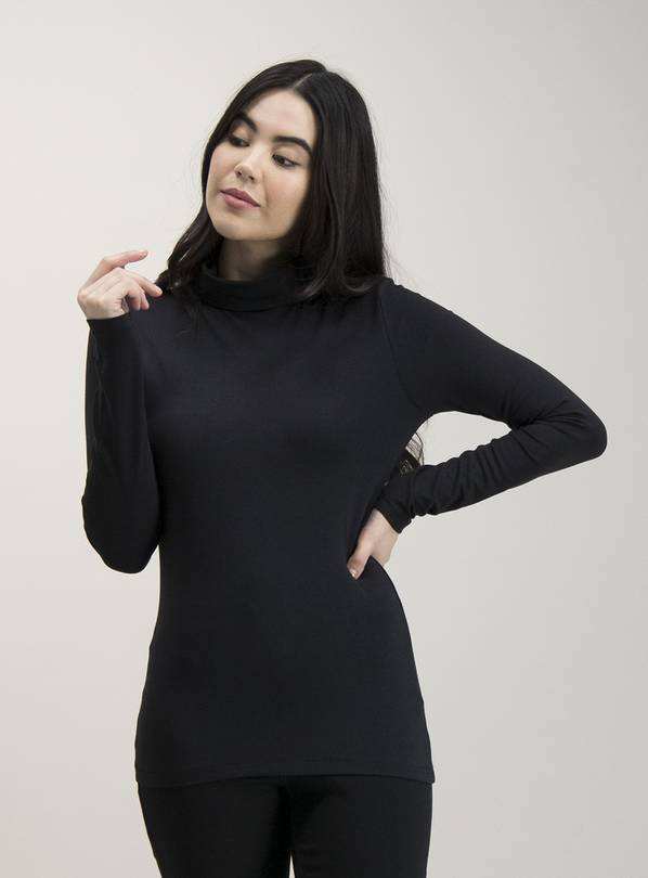 Black Roll Neck Long Sleeve Top - 10