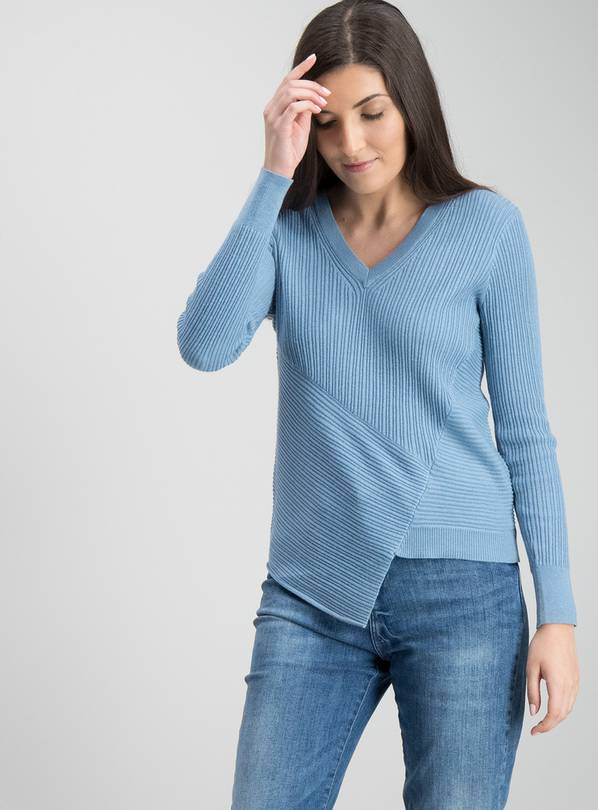 Blue Asymmetric Rib Jumper - 16