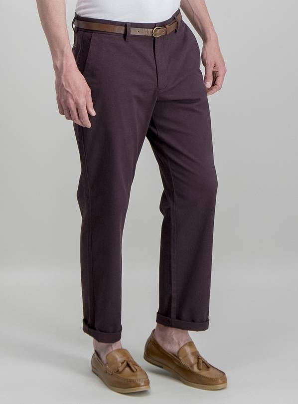 Burgundy Belted Straight Fit Chinos - W32 L32