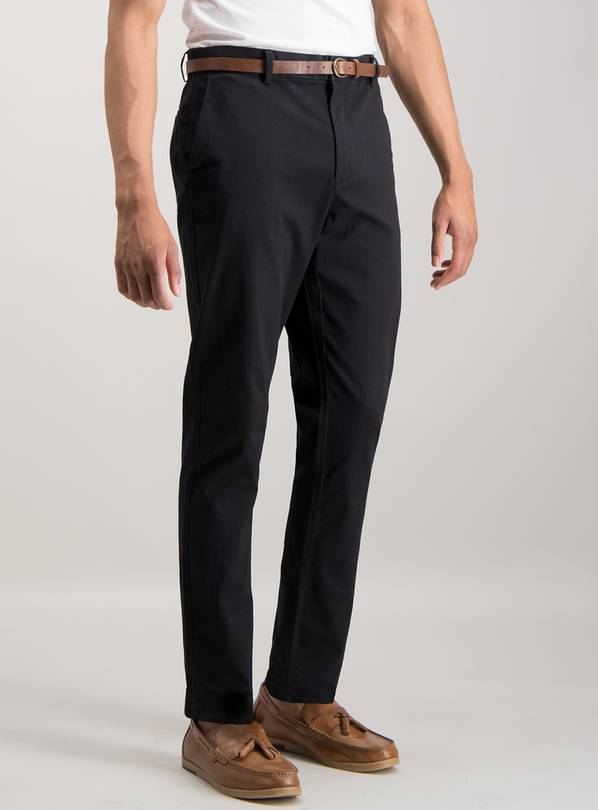 Black Slim Fit Belted Chinos With Stretch - W36 L34
