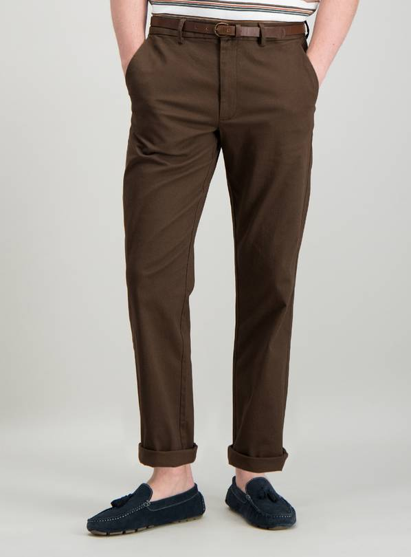 Brown Straight Fit Belted Stretch Chino - W36 L30