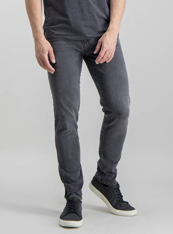 Grey Skinny Fit 4 Way Stretch Denim Jeans - W36 L30