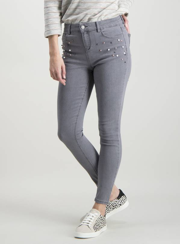 Grey Fashion Pearl Skinny Jeans - 8S