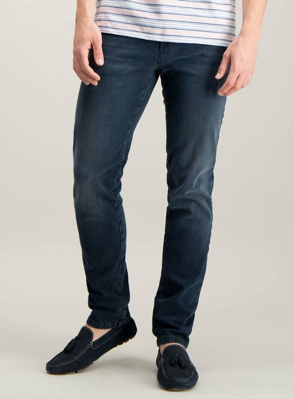 Blue Black Skinny Fit 4 Way Stretch Denim Jeans - W38 L32