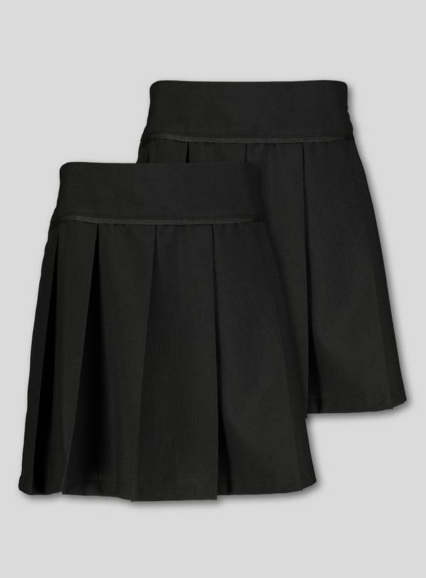 Black Permanent Pleat Plus Fit Skirt 2 Pack - 13 years