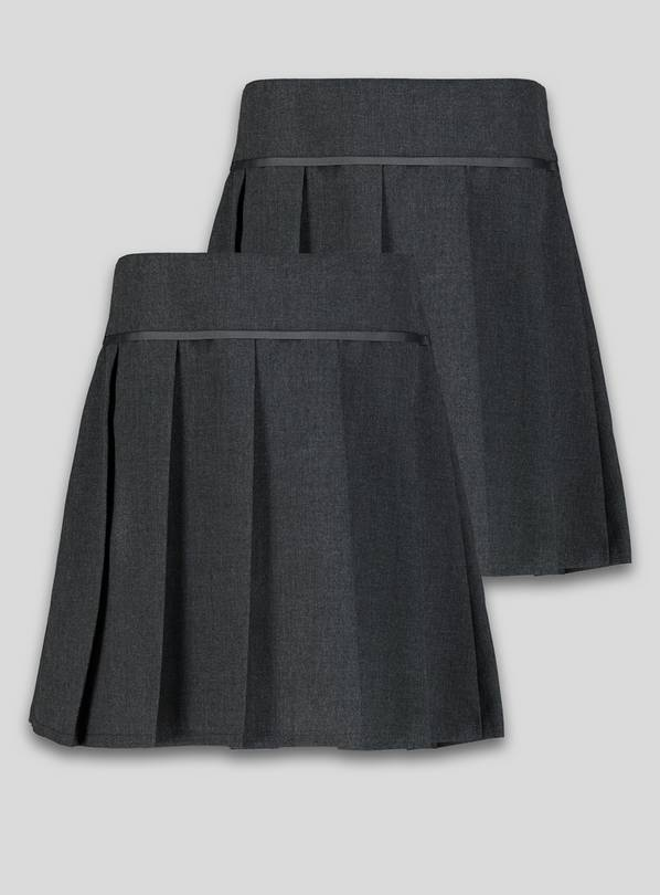 Grey Permanent Pleat Plus Fit Skirt 2 Pack - 12 years