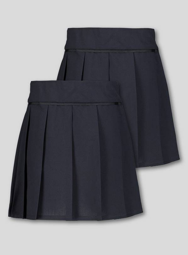 Navy Permanent Pleat Plus Fit Skirt 2 Pack - 12 years