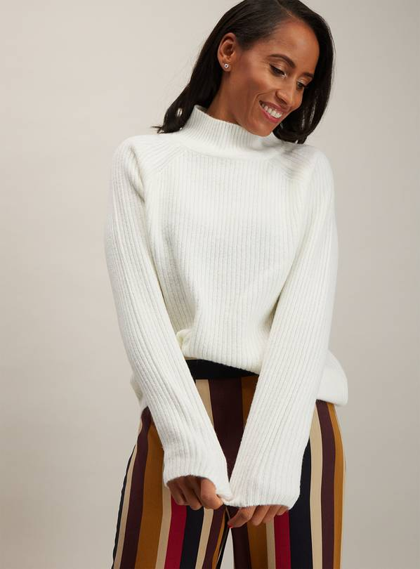 Cream Ribbed Funnel Neck Jumper - 16