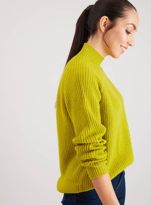 Lime Green Funnel Neck Swing Jumper - 16