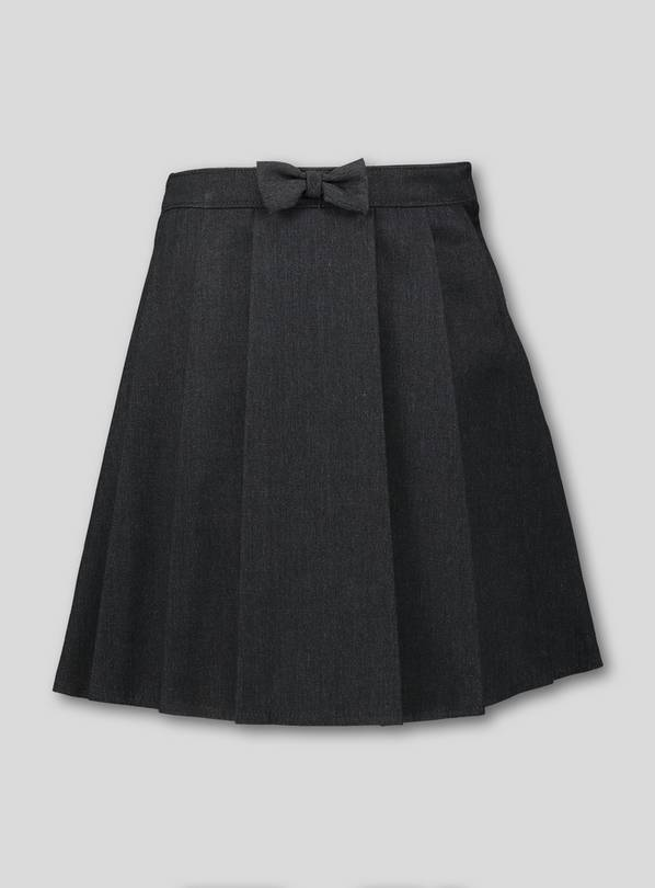 Grey Pleated Bow School Skirt - 12 years