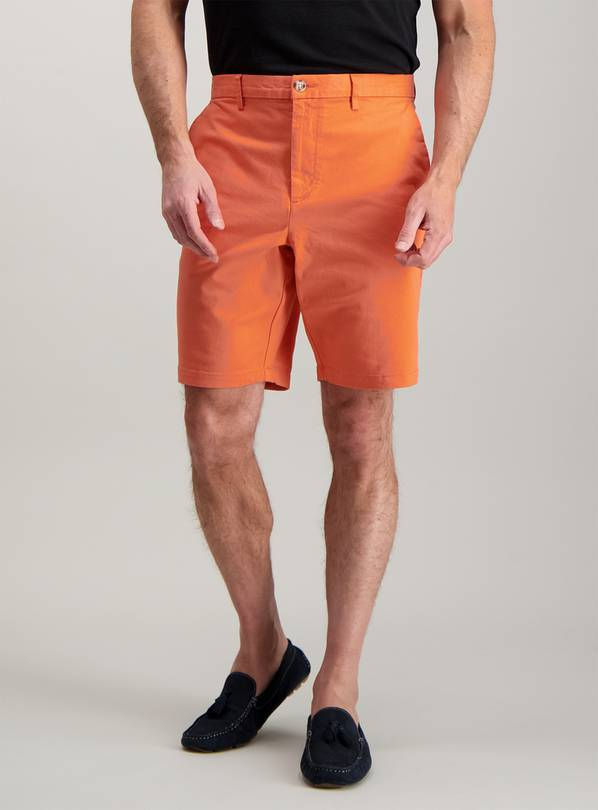 Bright Coral Chino Shorts With Stretch - 40