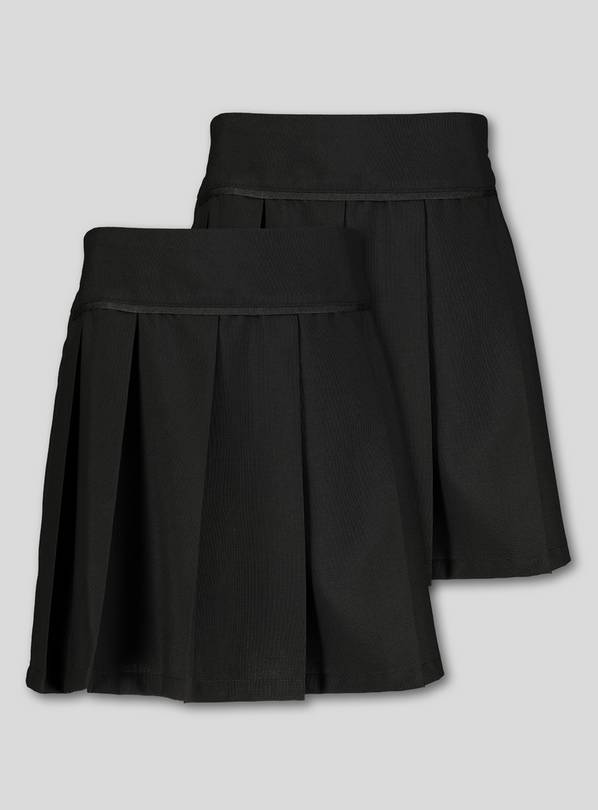 Black Permanent Pleat School Skirt 2 Pack - 11 years