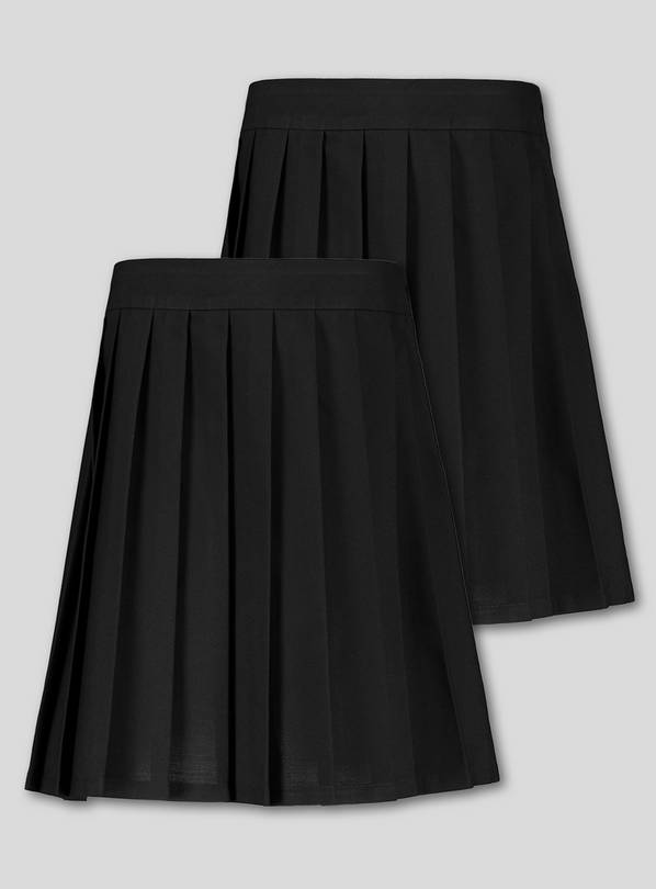 Black Permanent Pleat School Skirt 2 Pack - 13 years