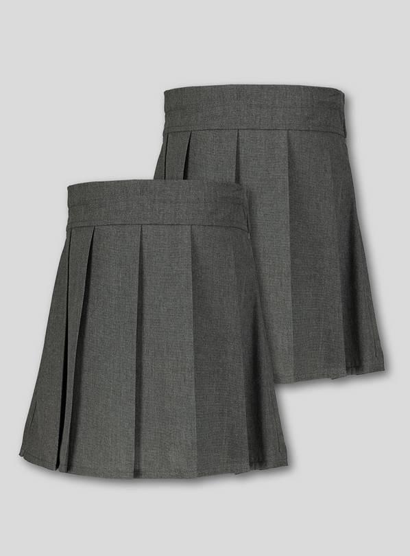 Grey Permanent Pleat Skirts 2 Pack - 8 years