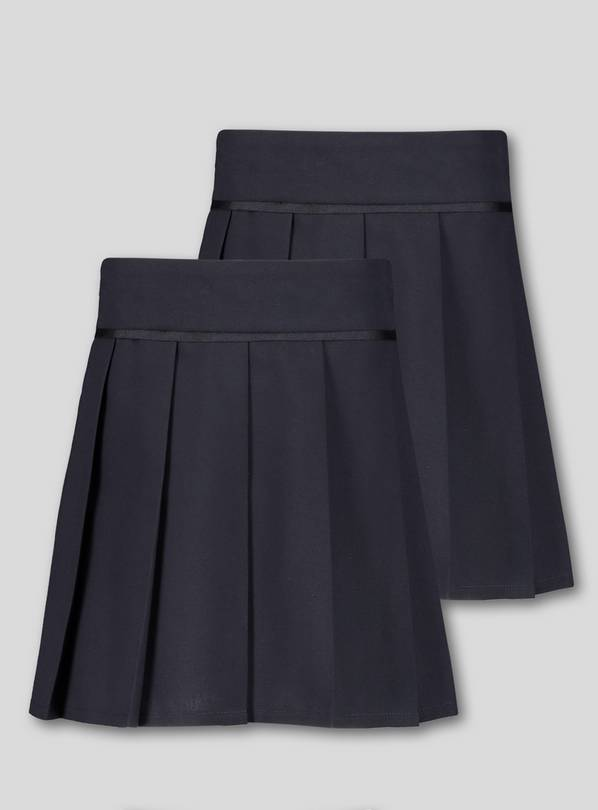Navy Blue Permanent Pleat Skirts 2 Pack - 14 years
