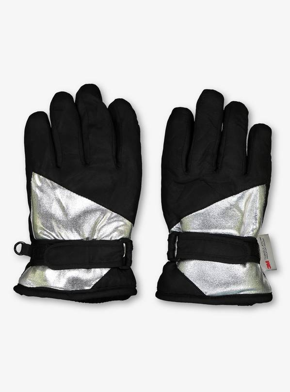 THINSULATE Black & Silver Snow Gloves - 6-9 years