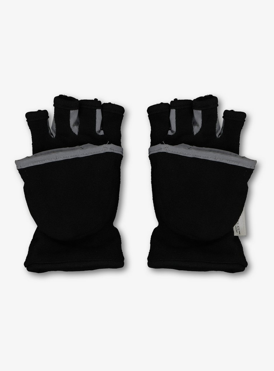 Mens Thinsulate Gloves Fingerless Gripper Fleece Black Mitts One Size
