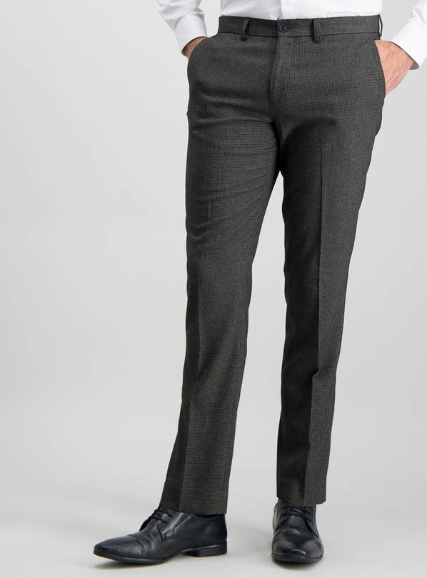 Online Exclusive Brown Dogtooth Slim Fit Trousers With Stret