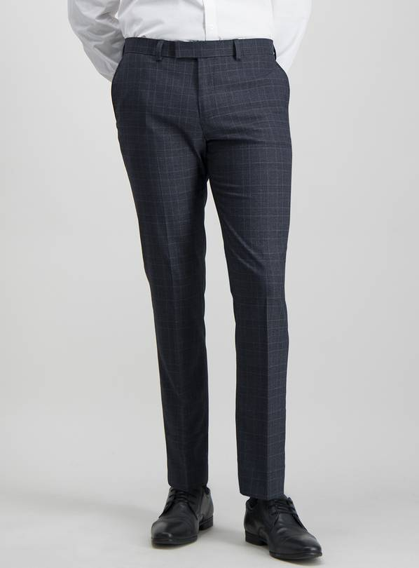 Navy & Brown Check Slim Fit Suit Trousers With Stretch - W36
