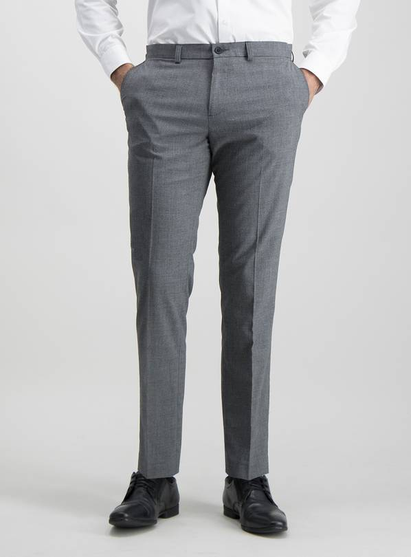 Grey Texture Slim Fit Trousers With Stretch - W42 L29