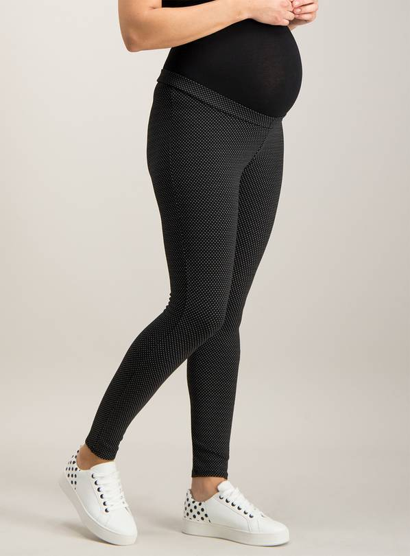 Online Exclusive Maternity Black Jacquard Dot Leggings - 10