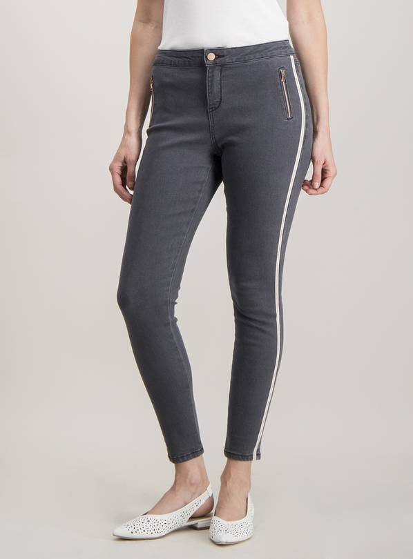 Grey Fashion Stripe Skinny Jeans - 8S