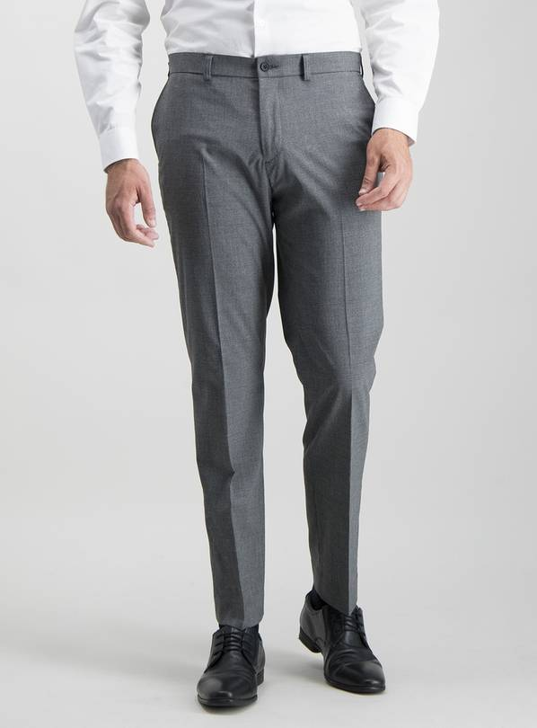 Grey Texture Tailored Fit Trousers With Stretch - W32 L31